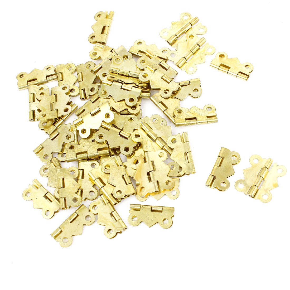 50 Pcs Gold Tone Rotatable Window Drawer Door Butt Hinges 2cm Long