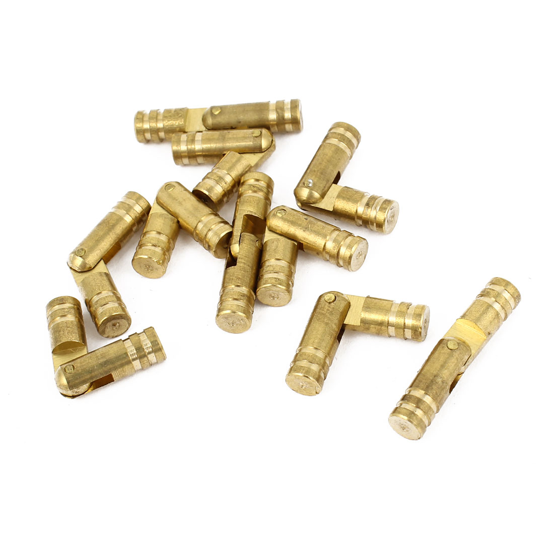 10 Pcs Gold Tone Cylinder Shape Rotary Window Drawer Door Pin Hinges 2.5cm Long