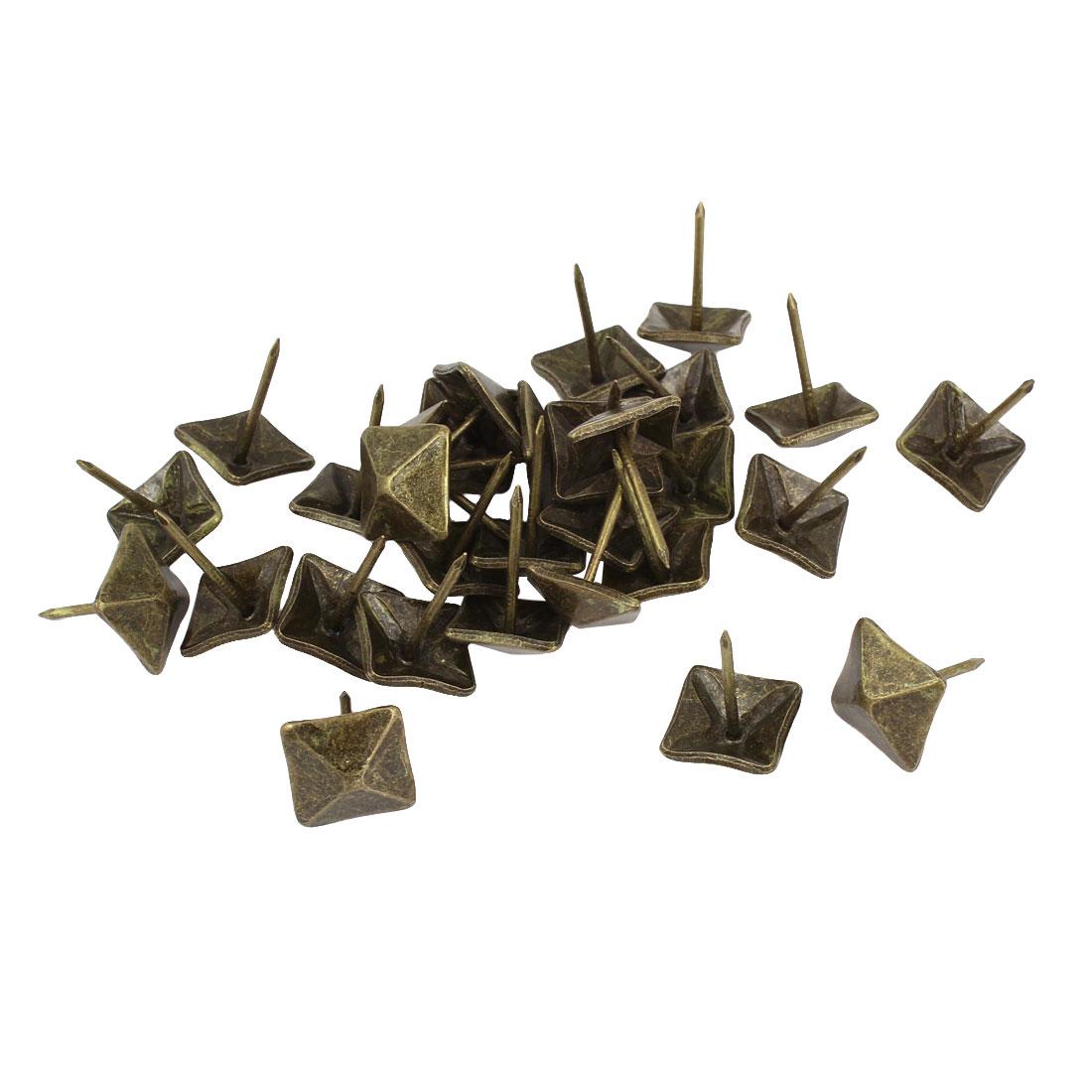 30 Pcs Bronze Tone Square Design Message Board Pushpins Thumb Tacks 14mm Dia