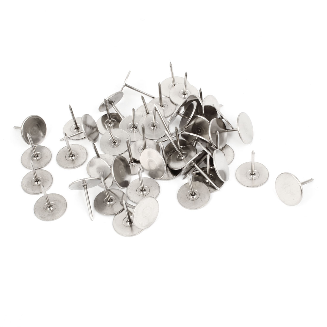 50 Pcs Silver Tone Round Top Message Board Pushpins Thumb Tacks 15mm Dia