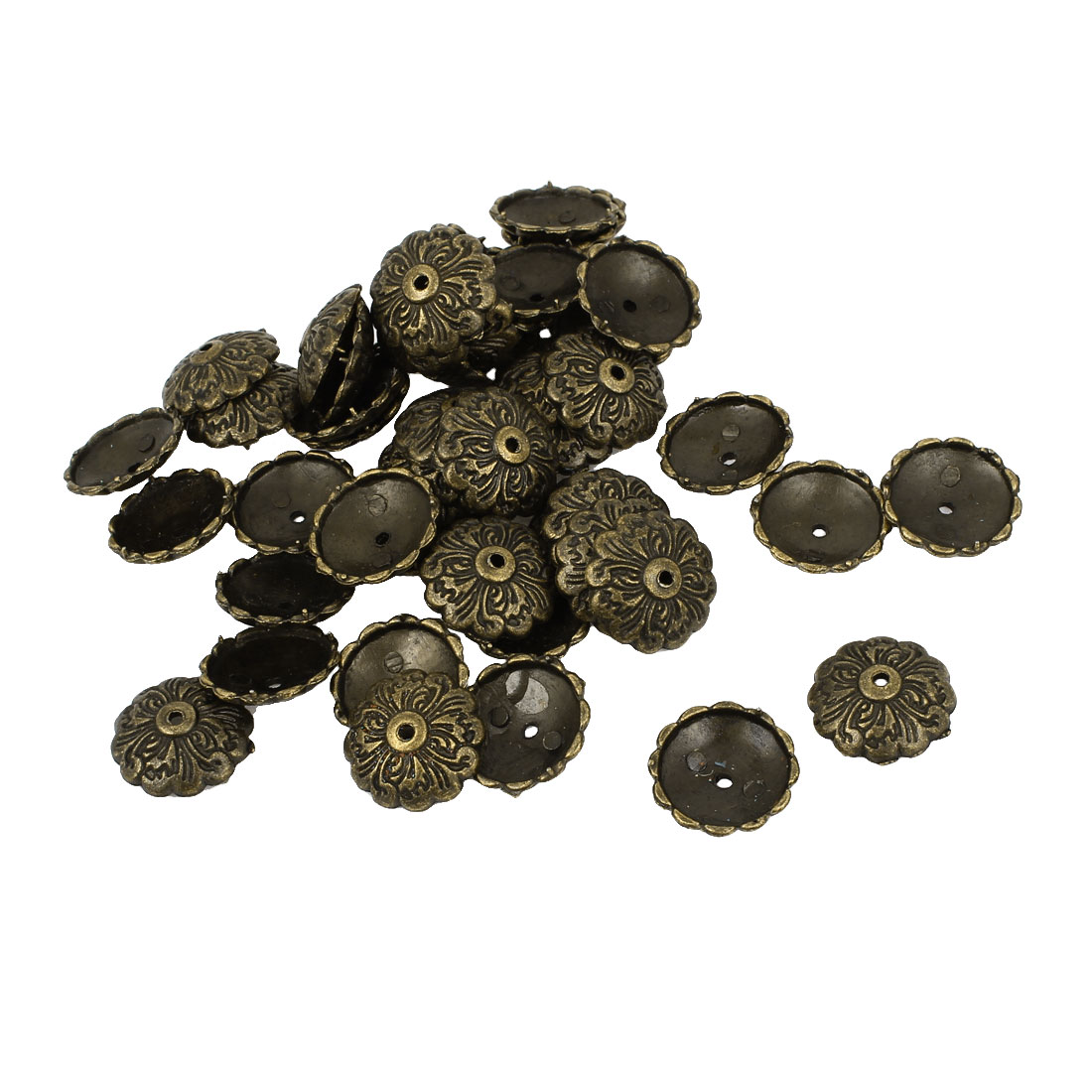 Flower Carve Notice Board Pushpins Thumb Tacks Bronze Tone 15mm Dia 50 Pcs