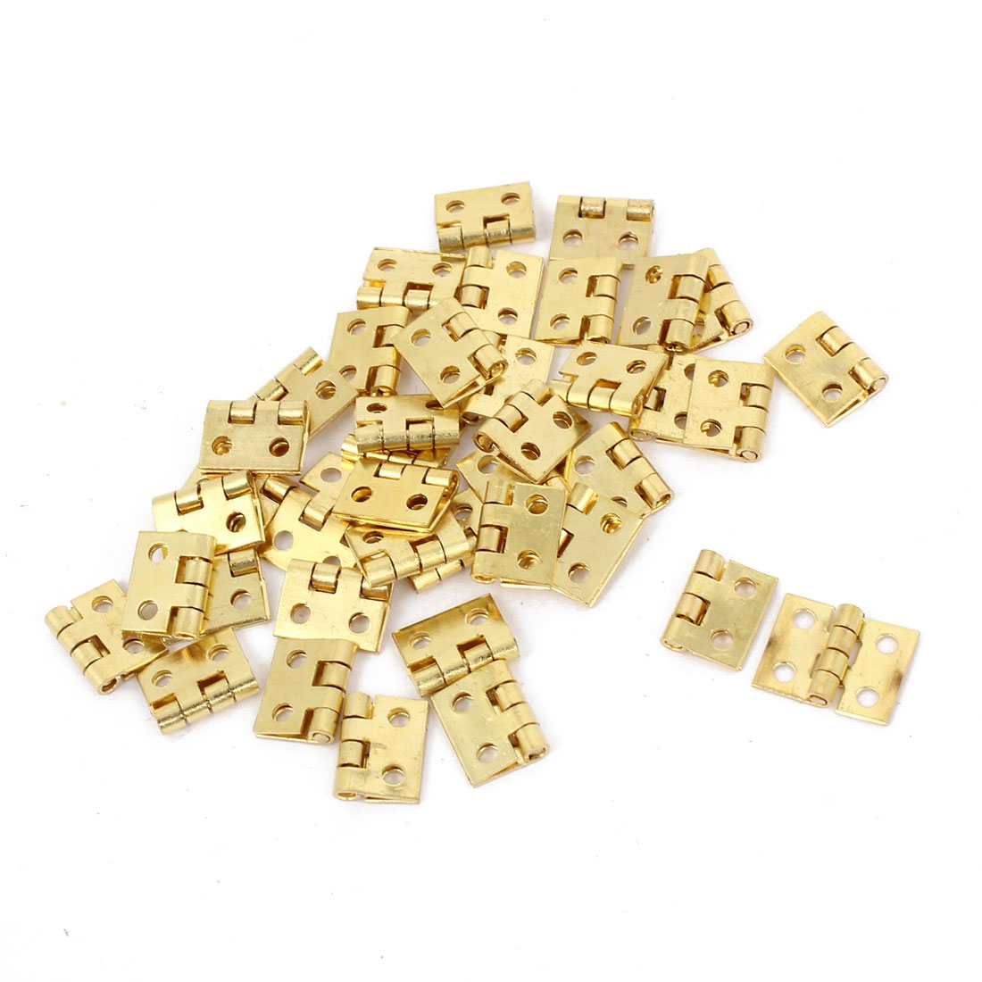 40 Pcs Gold Tone Rotatable Window Drawer Door Butt Hinges 8mm Long
