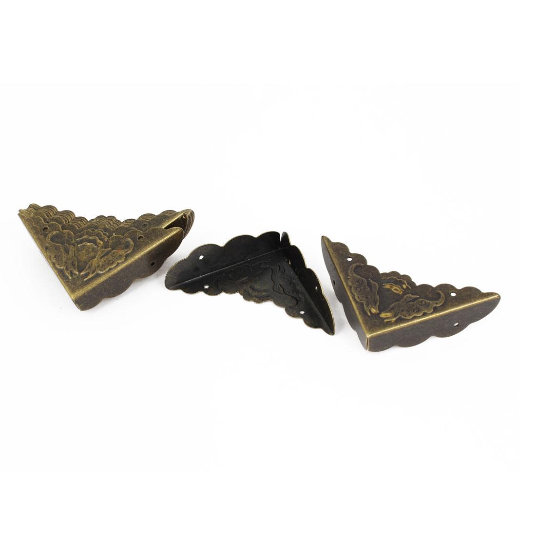 10 Pcs 42mm x 42mm x 42mm Vintage Style Corner Angle Brackets Braces Bronze Tone