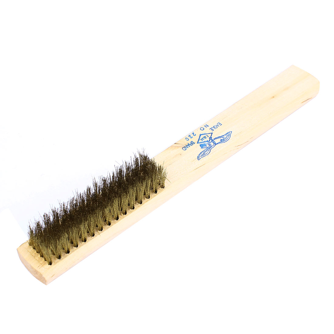 "8.3"" Length 15 Rows Wood Handle Brass Bristle Wire Scratch Brush"