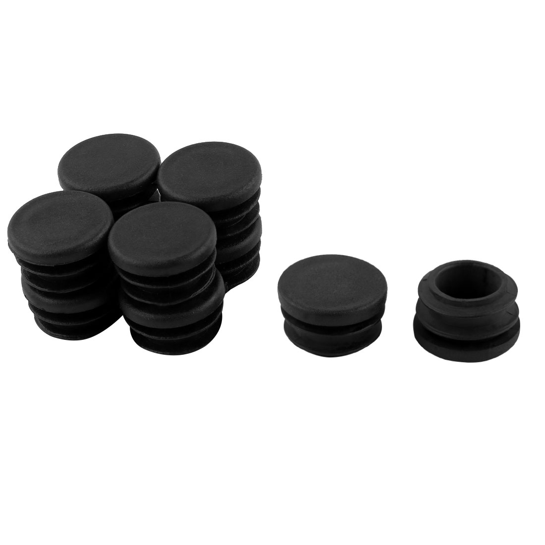 10pcs Black 22mm Diameter Blanking End Cap Covers Tubing Pipe Inserts