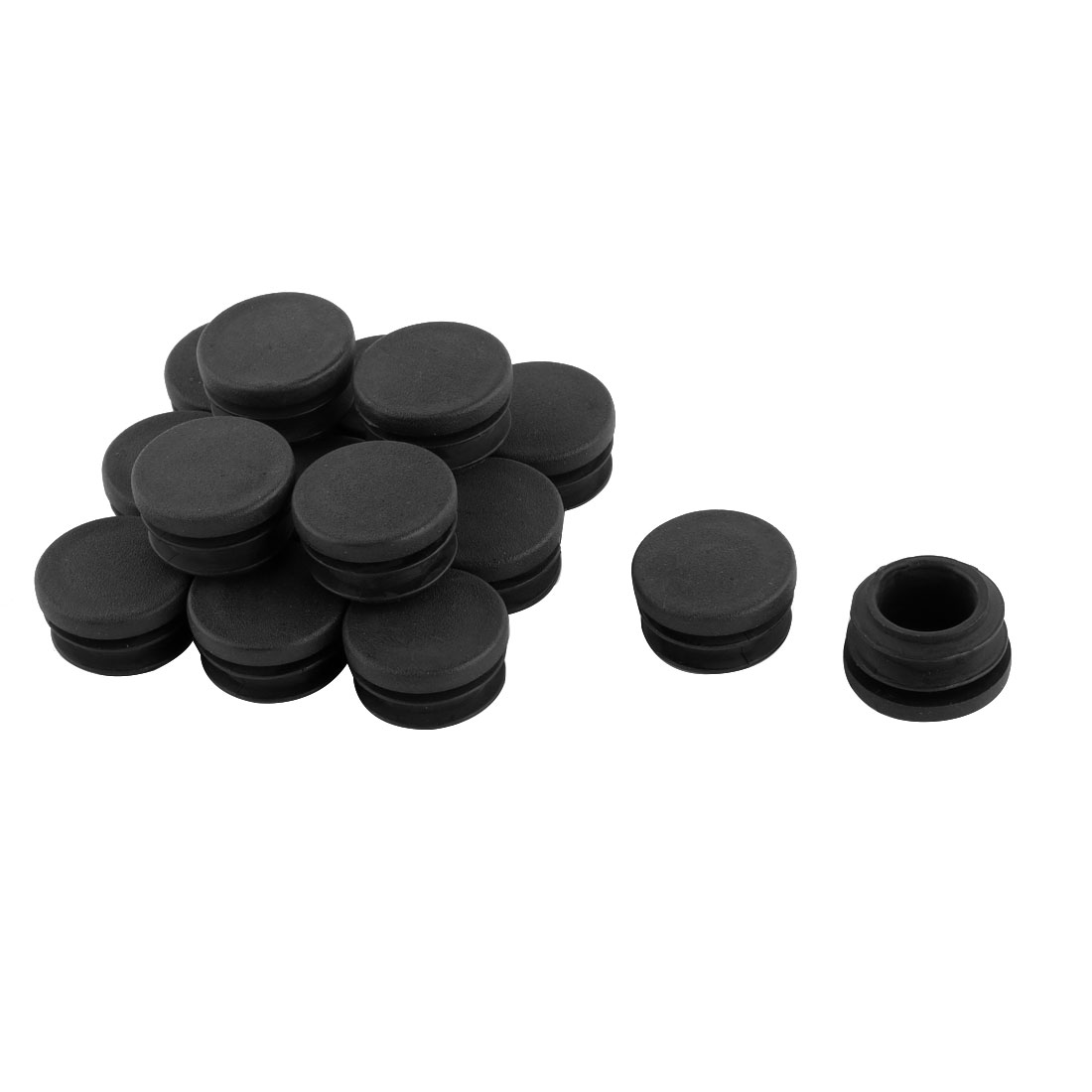 15 Pcs Round Plastic Black Blanking End Cap Caps Tube Pipe Inserts Bung