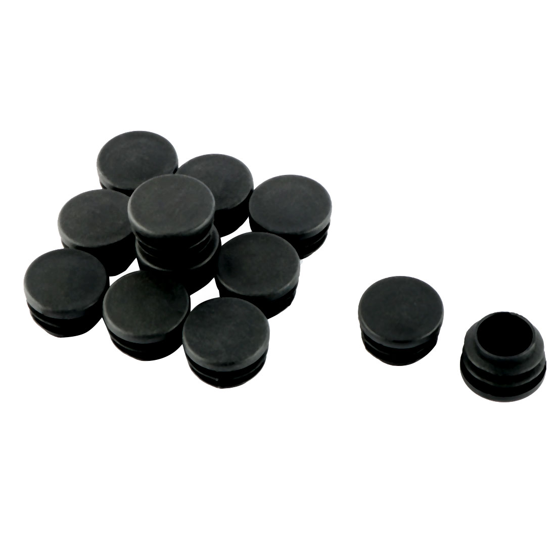 "12 Pcs Black 25mm 1"" Diameter Blanking End Caps Covers Tube Insert"
