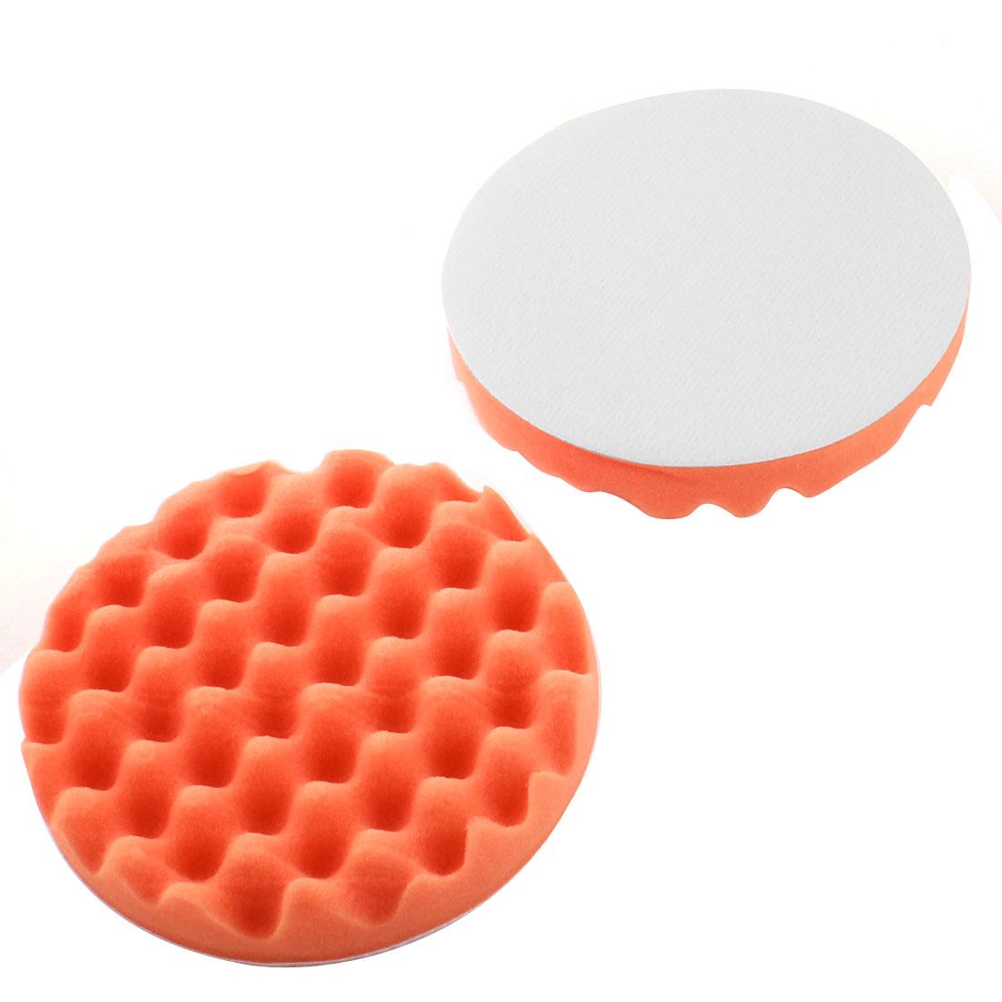 "2 Pcs 150mm 6"" Diameter Orange Foam Buffing Polishing Pad Wave Buffer for Car Polisher"