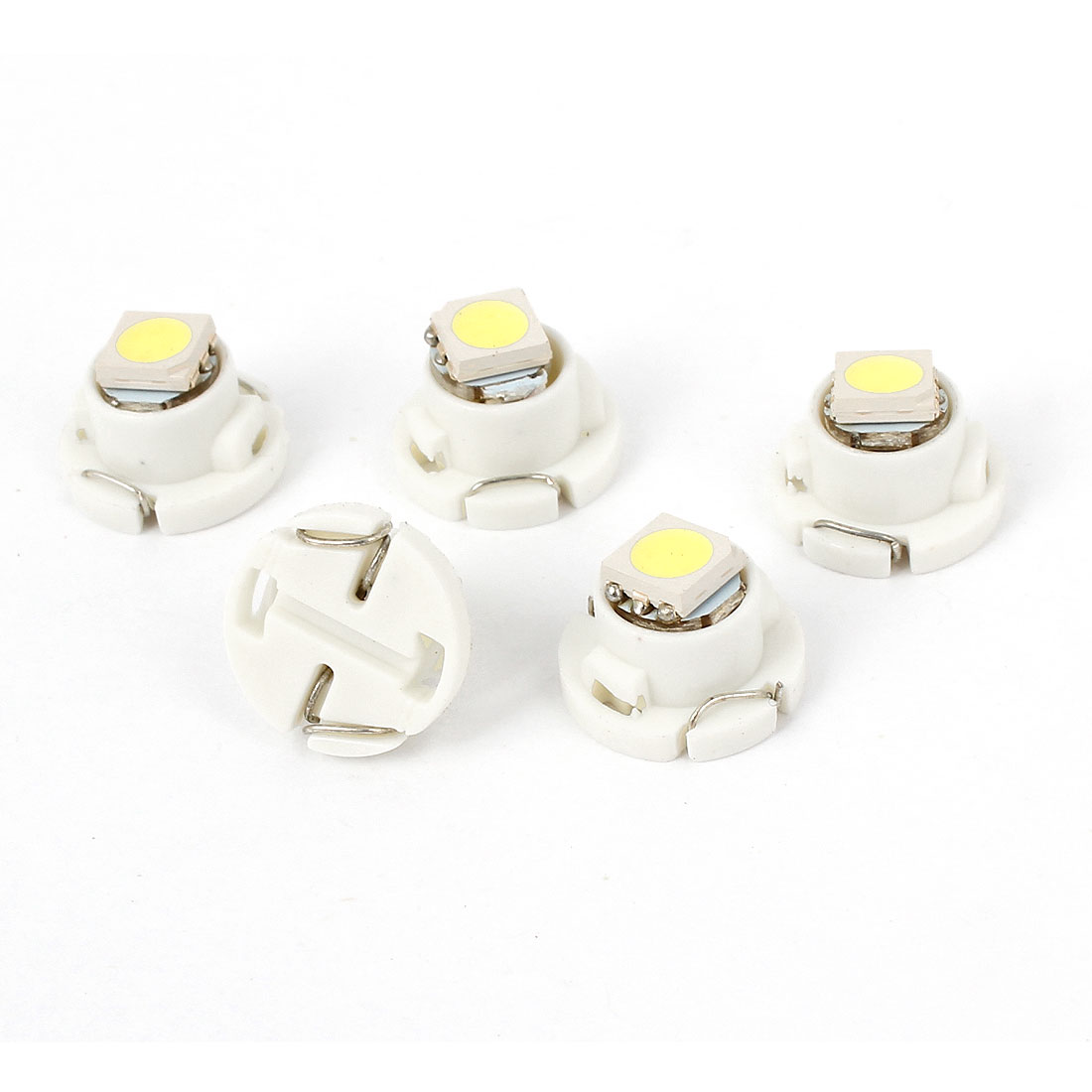 5 Pcs T4.7 Socket White 5050 LED SMD Dashboard Meter Light Bulb 12V Internal