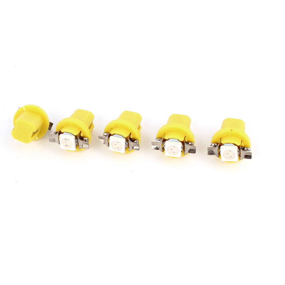 Car B8.5D 5050 1 SMD LED Dashboard Light Dome Lamp Yellow Internal 5 Pcs
