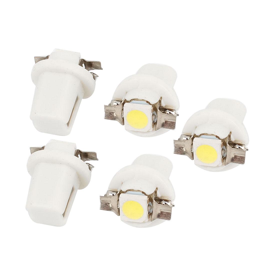 Car T5 B8.5D 5050 SMD LED Light Bulb Dashboard Gauge Lamp White 5 Pcs internal