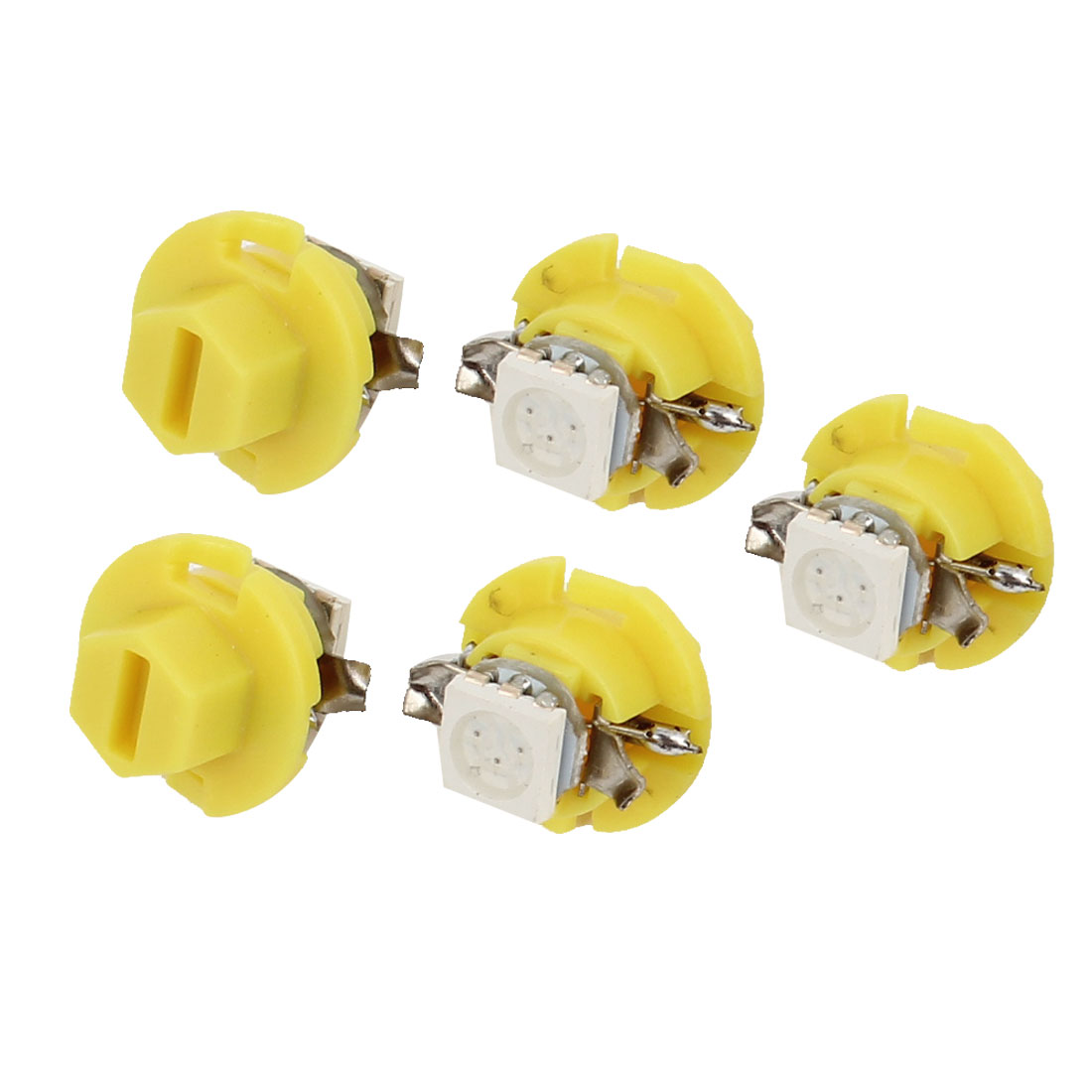 5 Pcs Car B8.4D 5050 1 SMD LED Light Dashboard Gage Lamp Yellow Internal