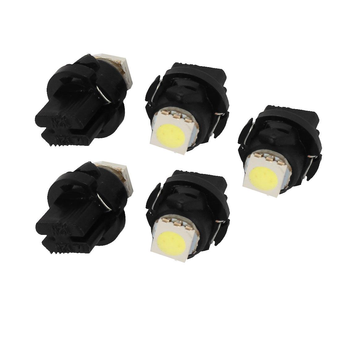 5 Pcs T5 5050 LED Truck Van Dash Gauge Wedge Lamps Lights Bulbs White internal