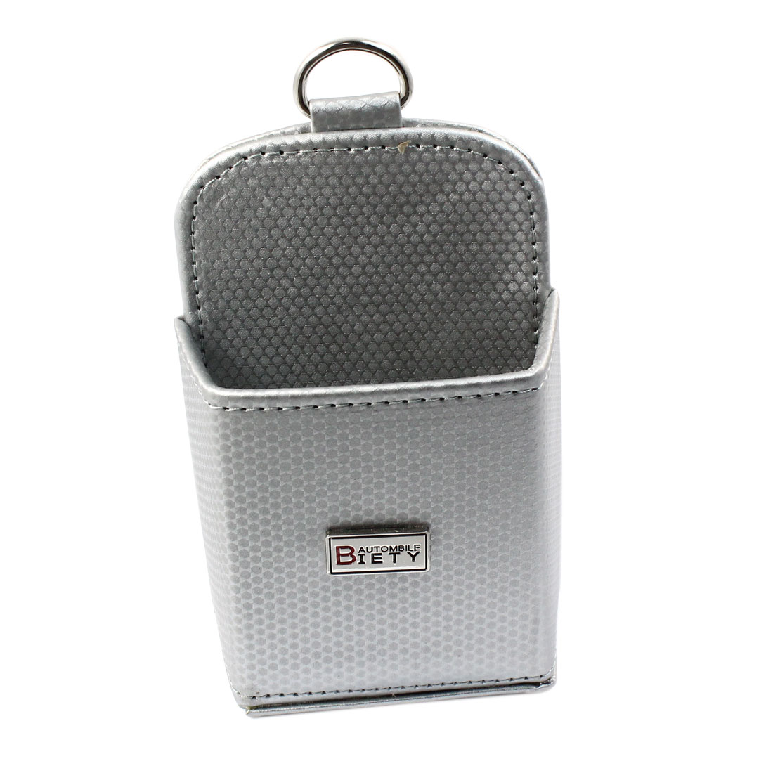 Vehicle Silver Tone Carbon Fiber Pattern Phone Pouch Holder Bag w Air Vent Hook