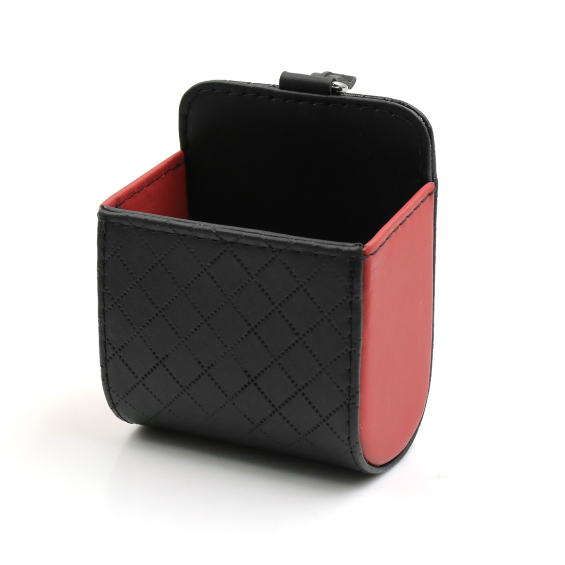 Auto Car Fiber Carbon Pattern Air Vent Faux Leather Phone Pouch Holder Case Bag Red Black