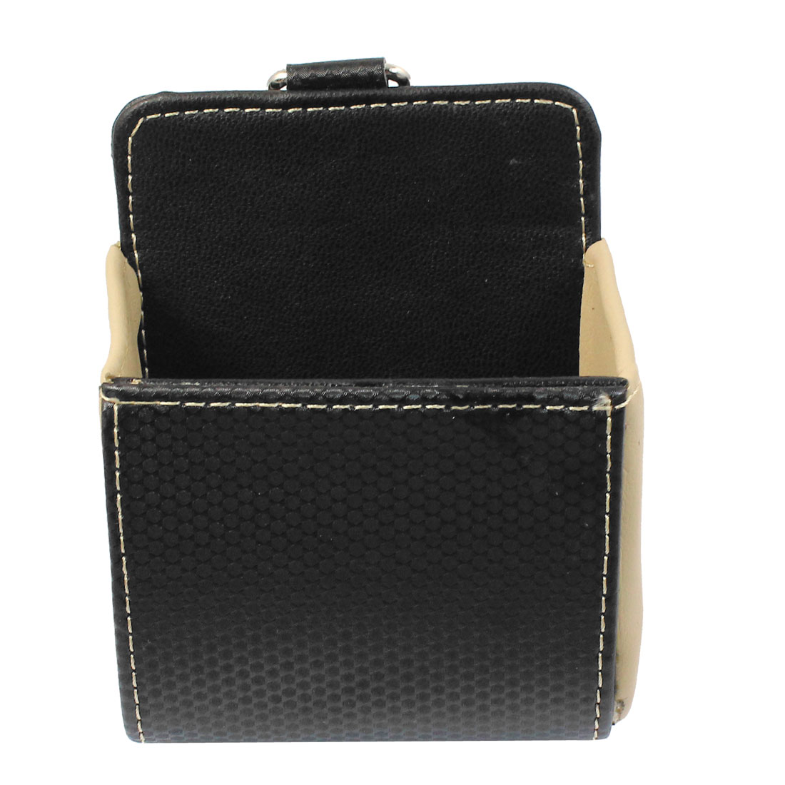 Car Black Beige Carbon Fiber Pattern Faux Leather Cell Phone Pouch Holder Case
