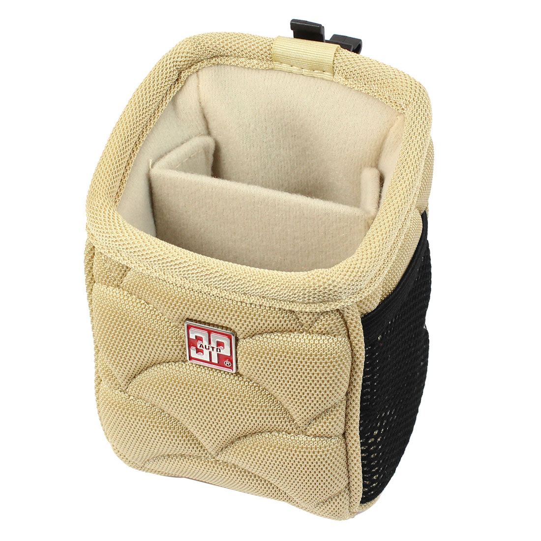 Car Auto Air Vent Mount 2 Comparments Cell Phone Pouch Holder Bag Beige