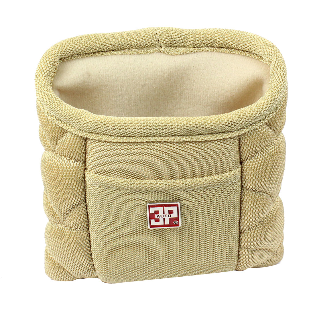 Car Vehicle Air Vent Beige Nylon Phone Pouch Holder Bag Storage