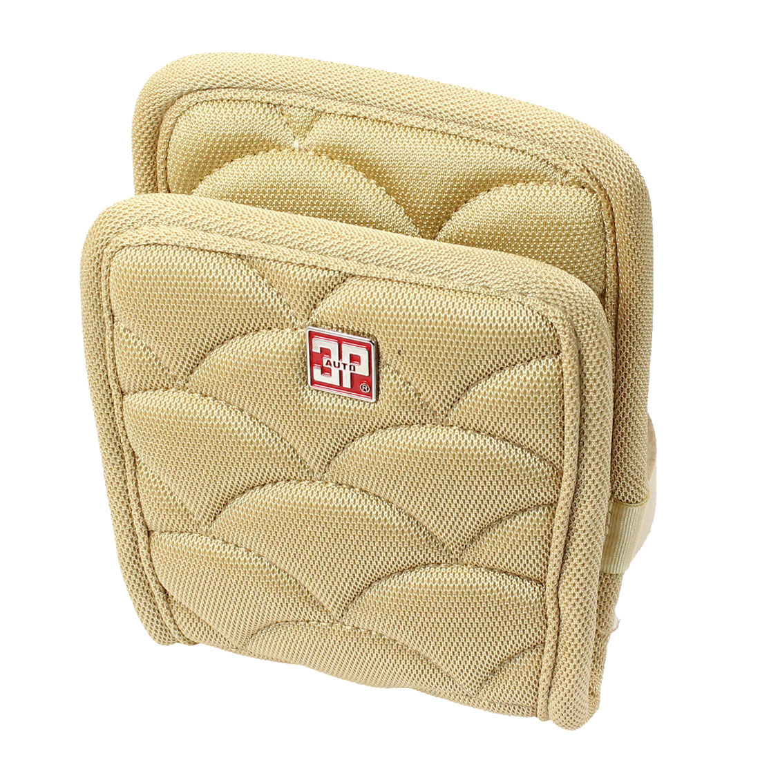 Car Vehicle Air Vent Beige Nylon Phone Pouch Holder Bag Sundries Case