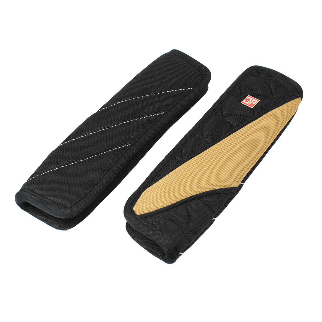 Pair Black Brown Nonslip Design Seat Belt Cover Pad Sleeve for Automotive Car