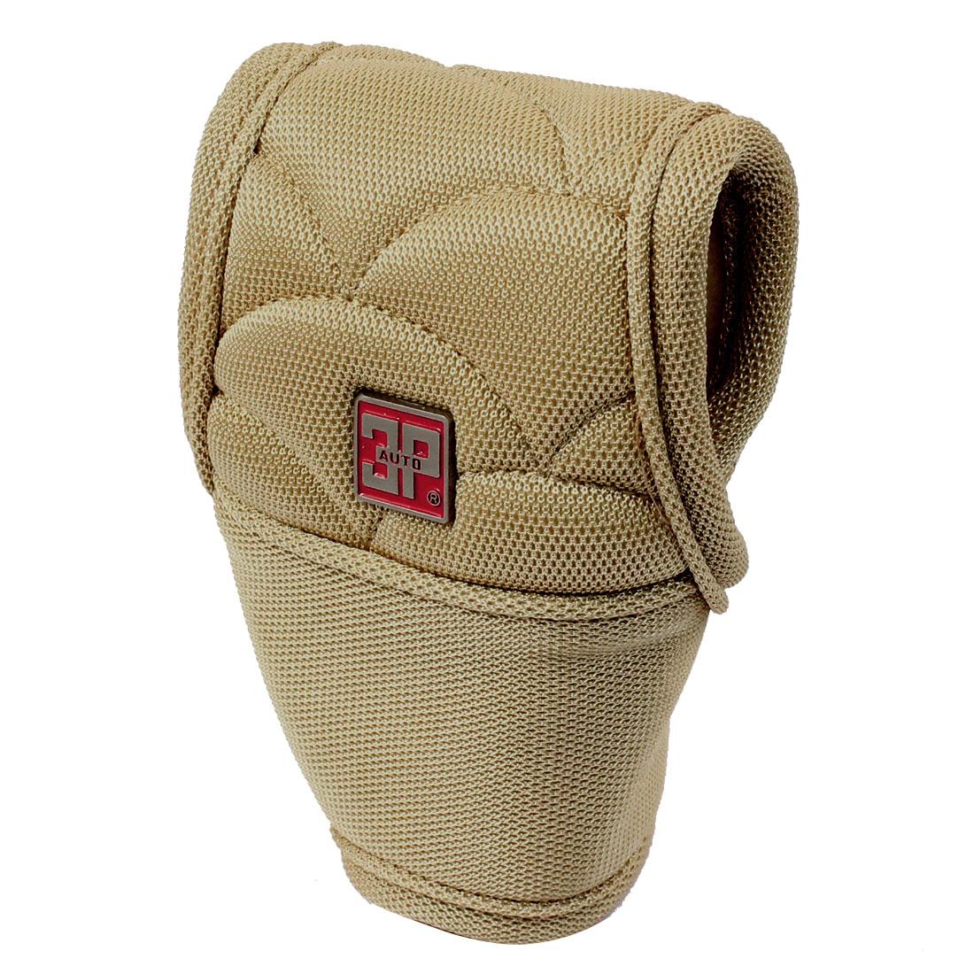 Car Light Brown Nylon Detachable Closure Shift Gear Knob Cover Guard Protector