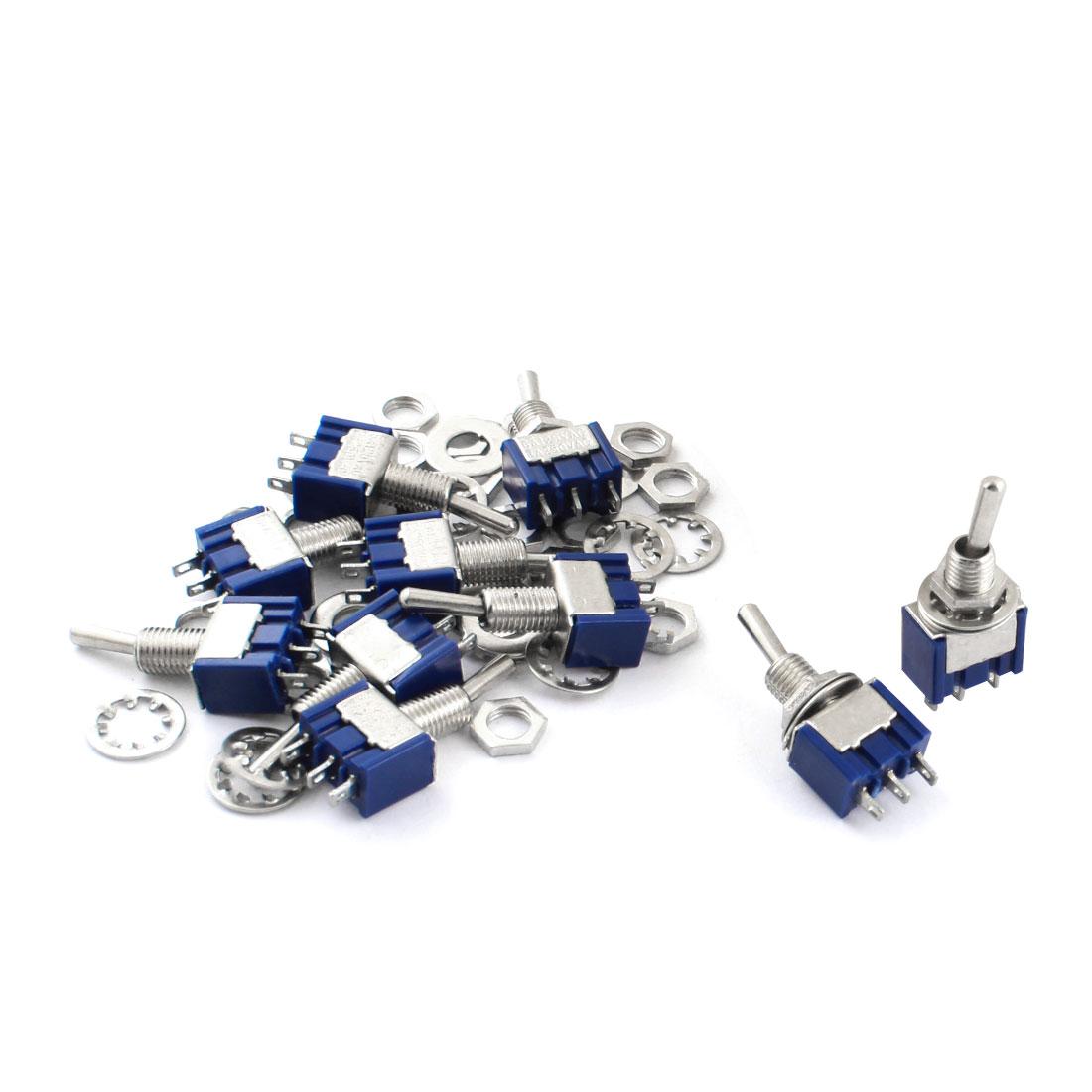 10pcs AC250V 3A AC125V 6A 6mm Mount 3 Way On/Off/On SPDT Toggle Switch