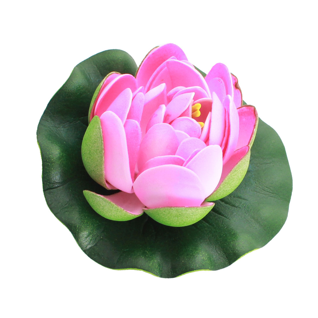 Pink Green Artificial Floating Lotus Floral for Fish Tank Aquarium 10.5cm Dia