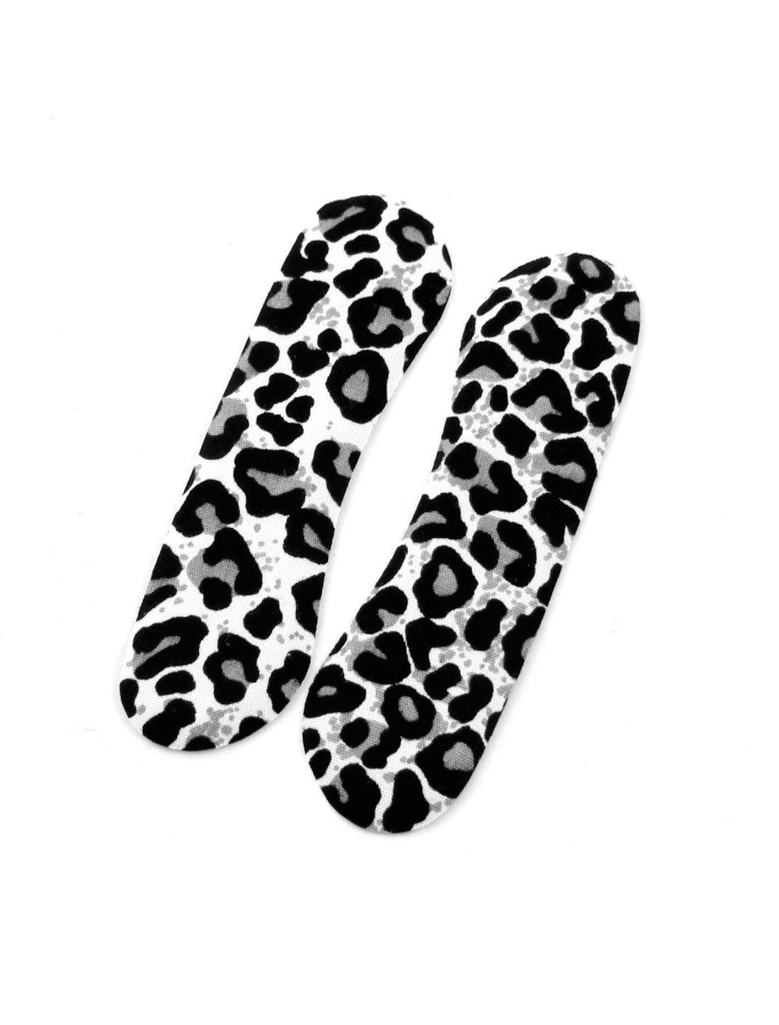 Women White Black Leopard Pattern Adhesive Shoes Cushions Back Pads Pair