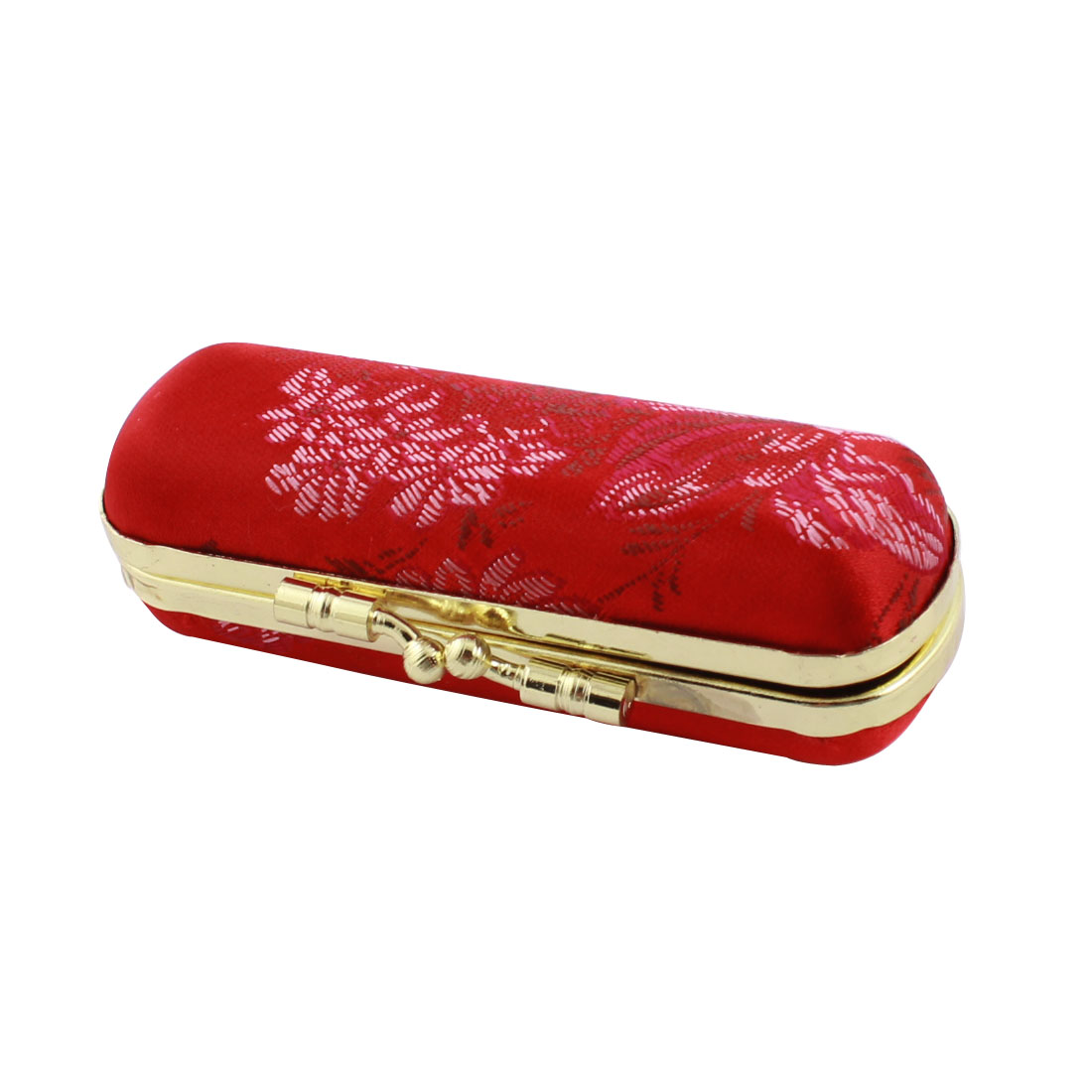 Red Flower Print Kiss Lock Clasp Mirror Inner Lipstick Holder Case Box Container