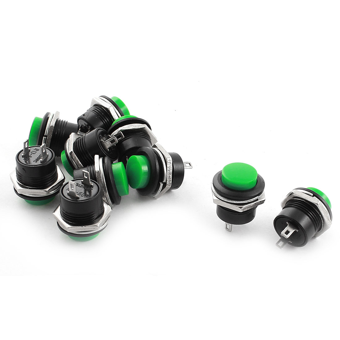 10 Pcs 16mm Thread Panel Mount SPST Solder Momentary Action Green Round Head Push Button Switch