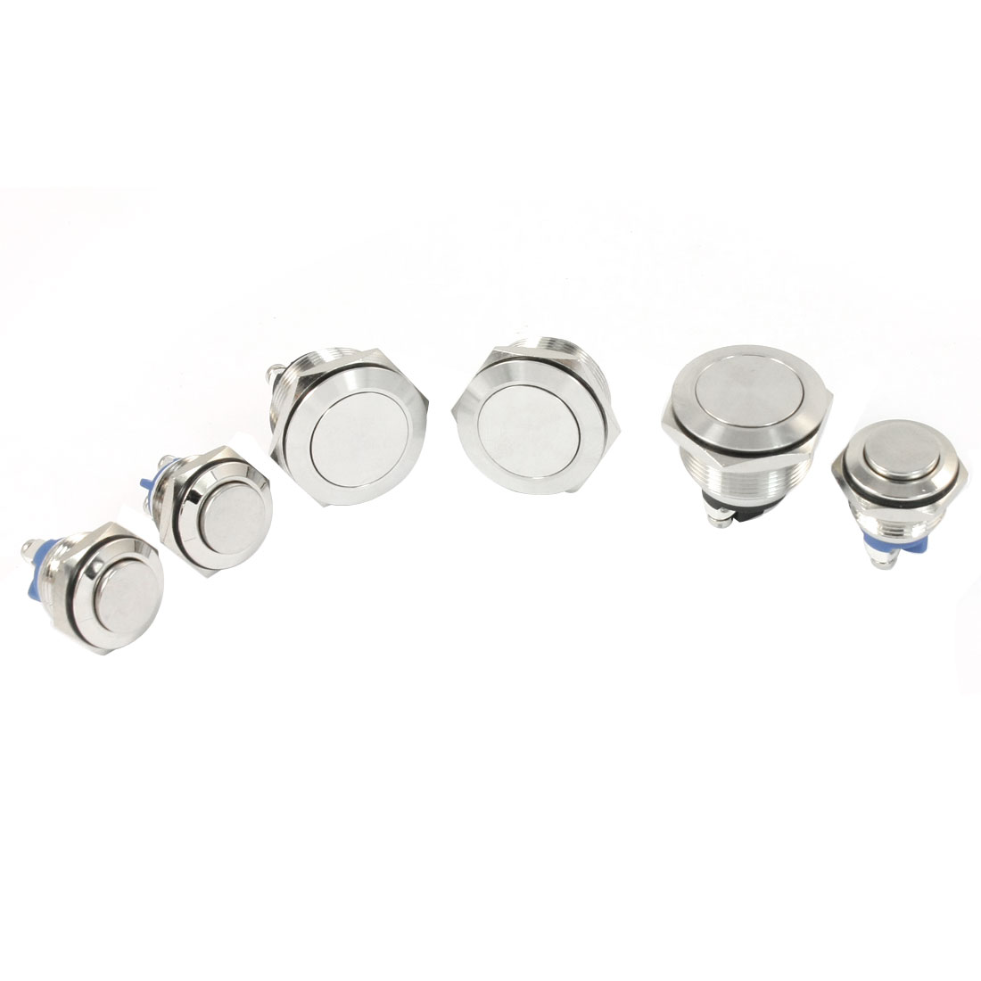 6 in 1 Set SPST Momentary Type Flat Head Push Button Switch Silver Tone 24V 3A