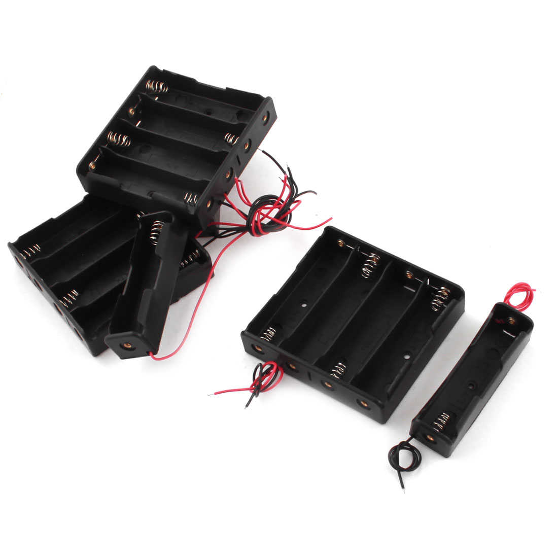 6 in 1 Black Plastic Storage Battery Box Case for 1x 4x 18650 3.7V Batteries