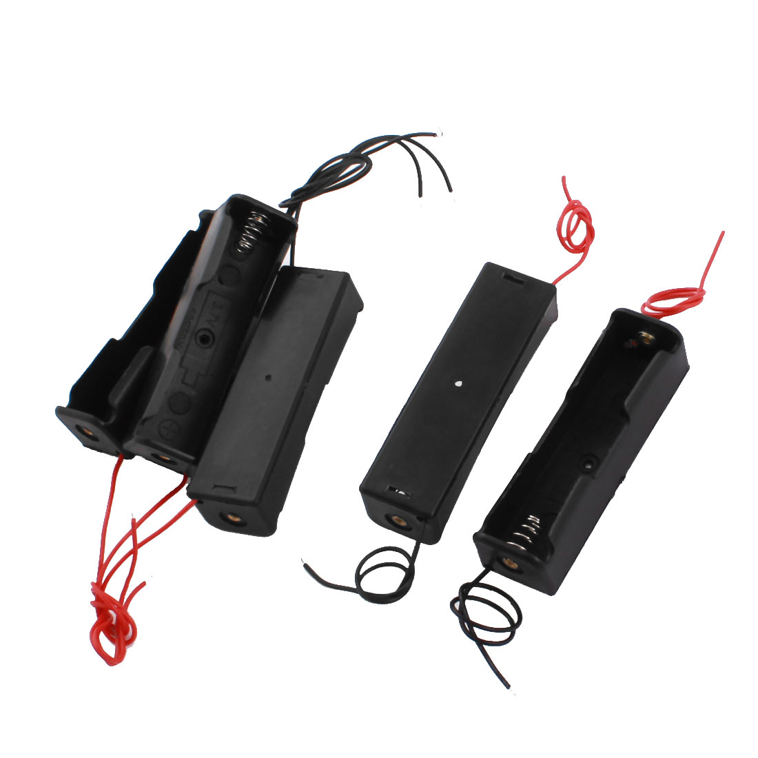"5pcs Black Plastic Battery Holder Case Box w 5.5"" Wire Leads for 1 x 18650 3.7V"