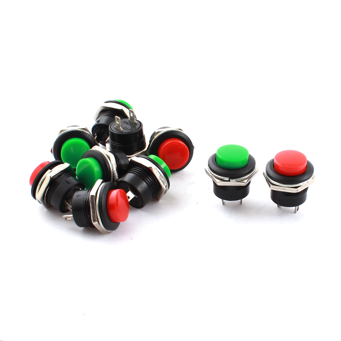 10 Pcs AC 250V 3A Green Red Cap 2 Terminals 16mm Mounting Dia SPST Momentary Push Button Switch