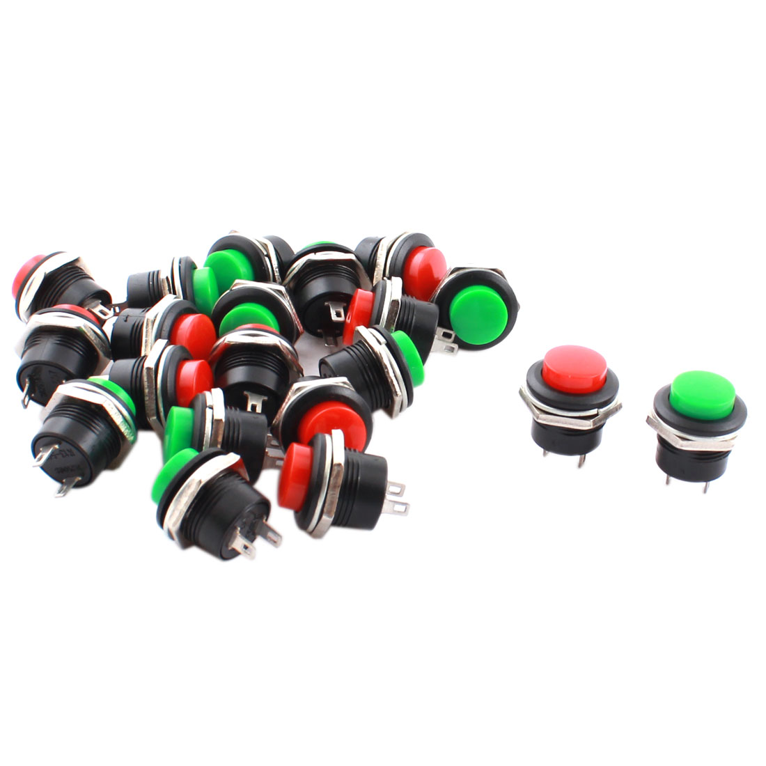 20 Pcs AC 250V 3A 16mm Panel Mounting SPST Momentary Pushbutton Switch