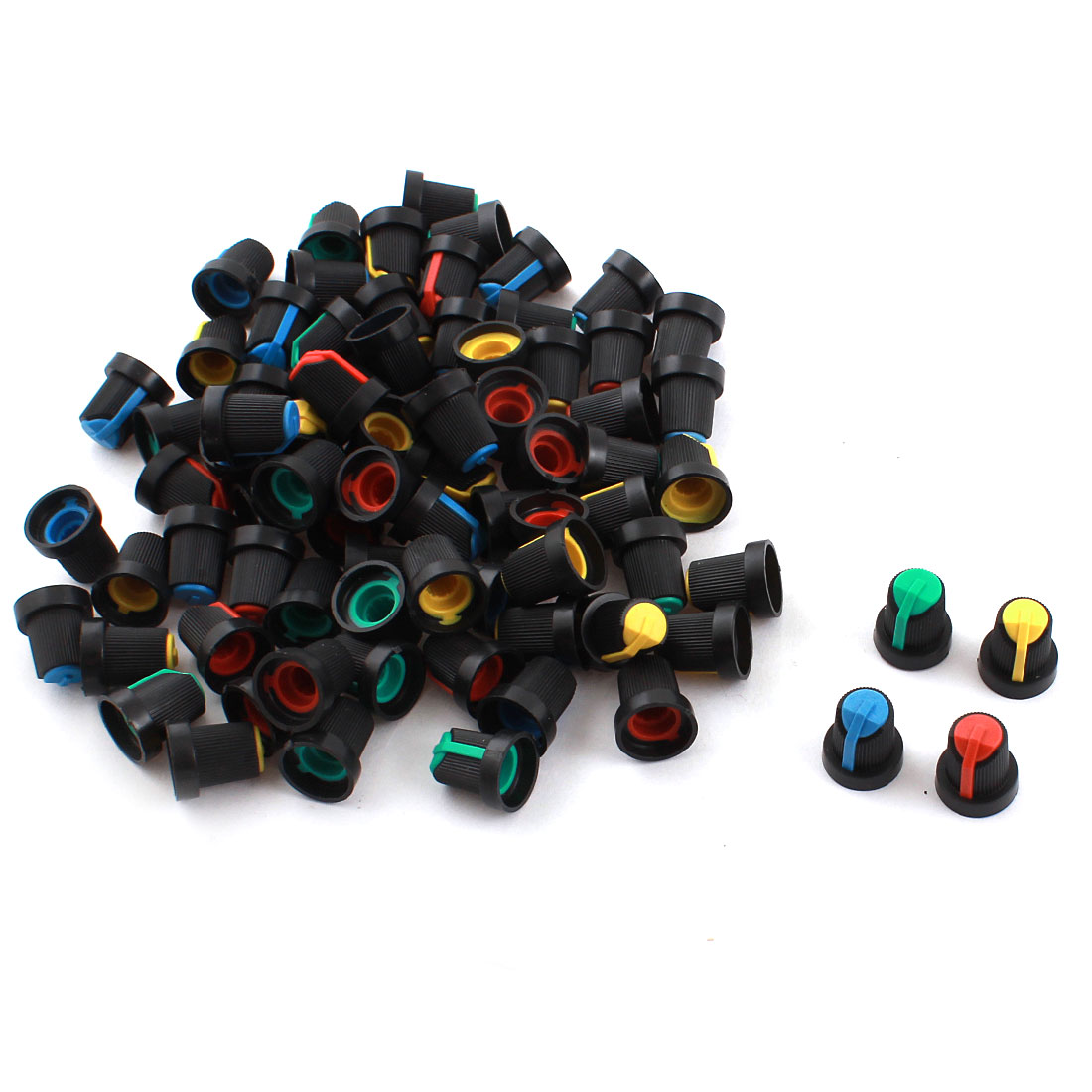 80PCS Black Blue Yellow Green Red Plastic 5.5mm Shaft Hole Diameter Knurled Grip Potentiometer Pot Knob Cap