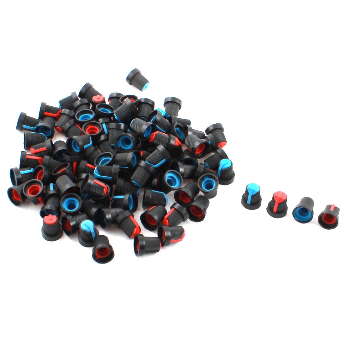 100 Pcs Black Blue Red Plastic 5.5mm Hole Rotary Taper Potentiometer Pot
