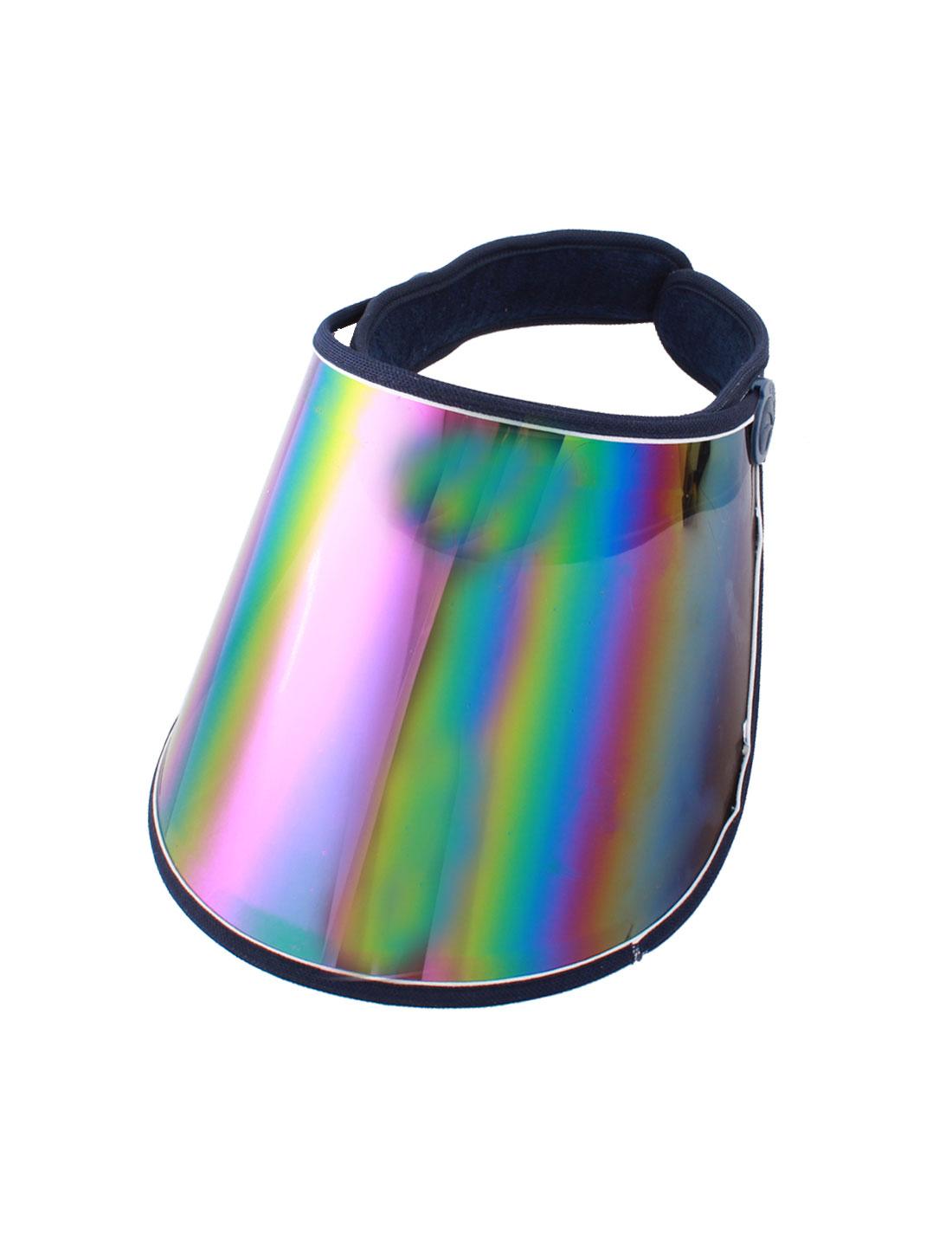 Lady UV Protection Plastic Cover Nylon Brim Sun Visor Cap Hat Dark Blue
