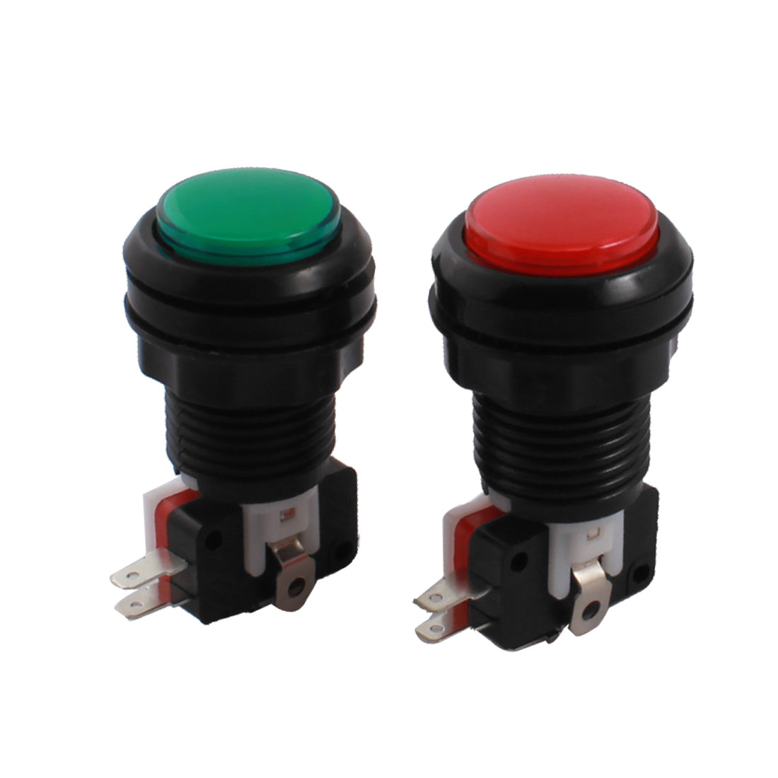 DC 12V SPDT Red Green Light Momentary Game Machine Arcade Push Button Micro Switch 2Pcs