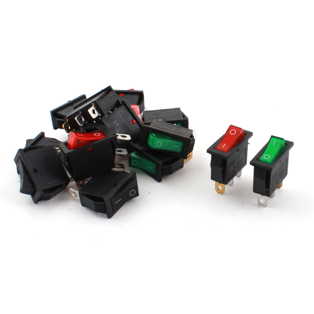 15Pcs Red Green Black Light Two Positions AC 250V 30A SPST Panel Mounting Power Boat Rocker Switch