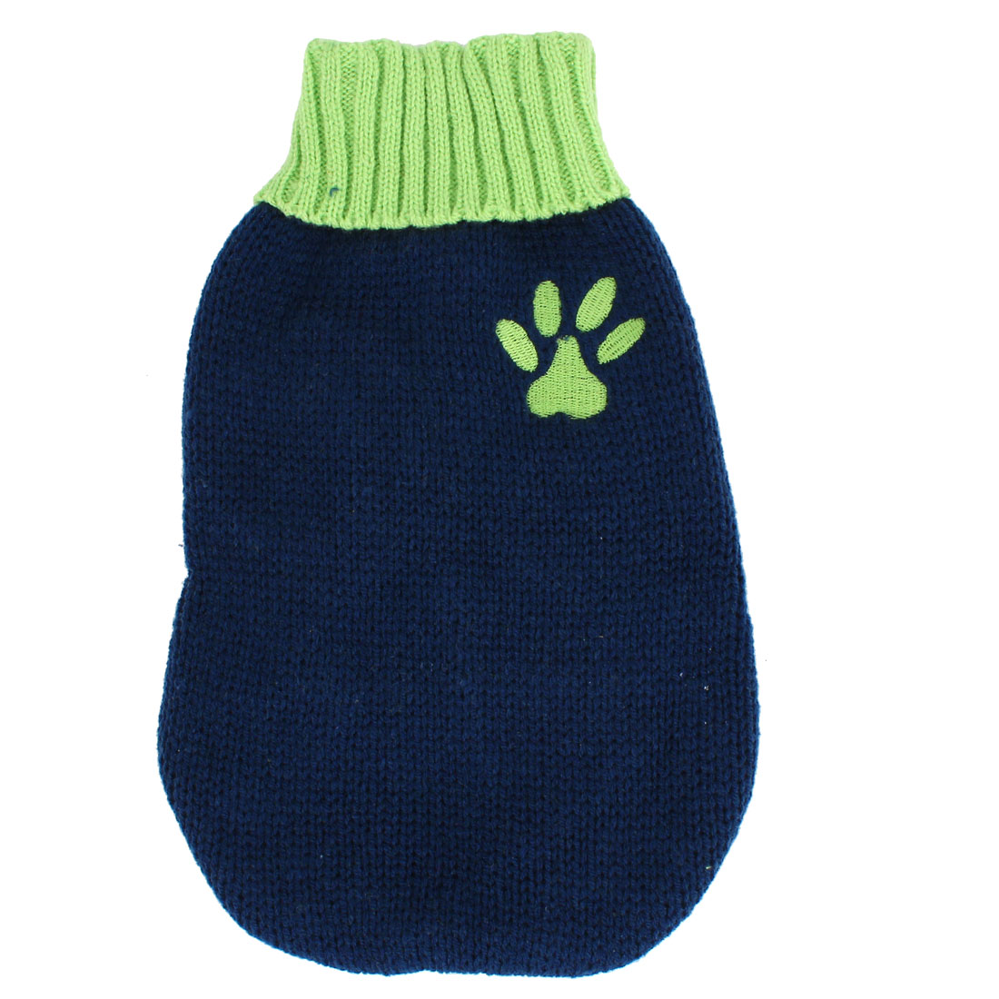 Pet Dog Doggy Ribbed Cuff Knitwear Turtleneck Apparel Sweater Dark Blue Green Size XXS