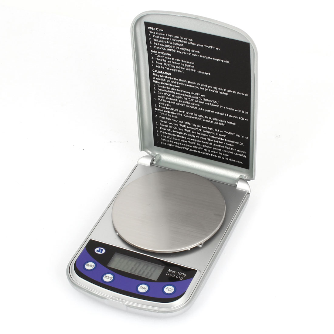 Round Platform 0.01g x 100g Jewelry Weight Balance Digital Pocket Scale
