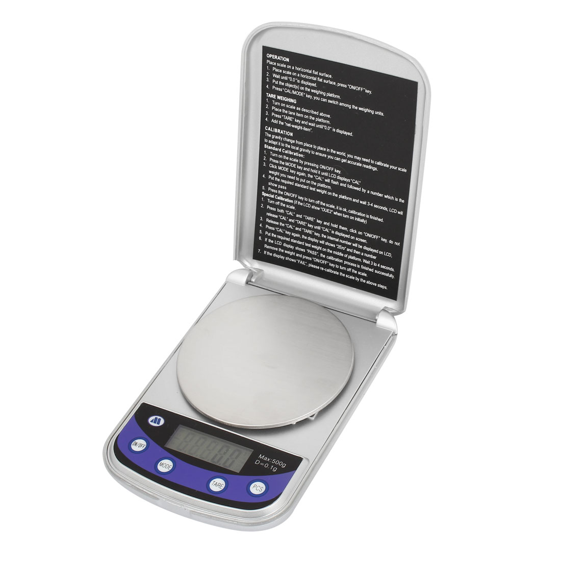 Flip Open 500g/0.1g Jewelry Weight Balance Digital Pocket Scale Silver Tone