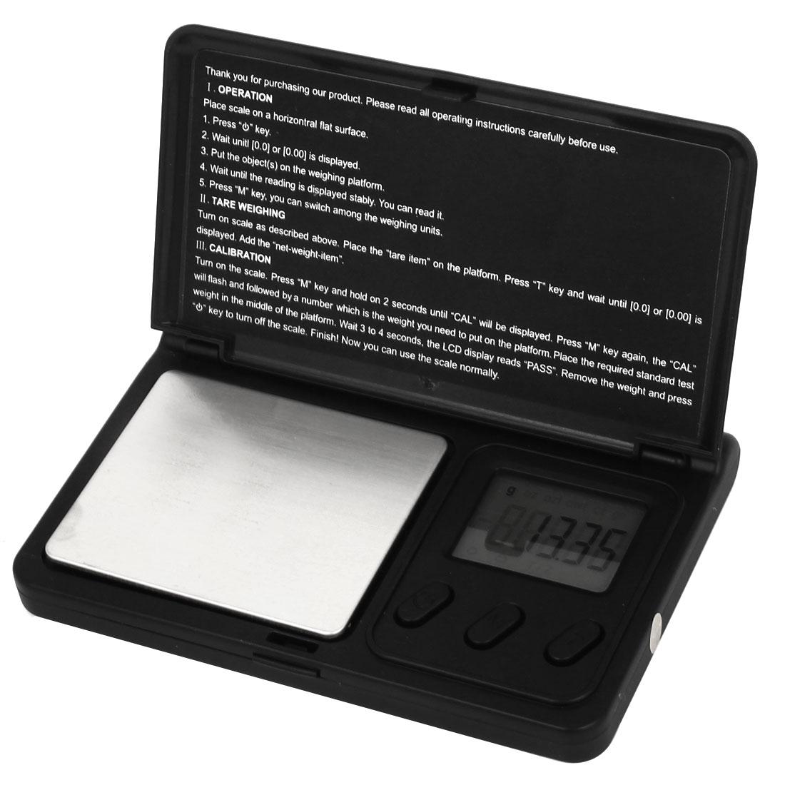 Flip Open 0.01g 100g Jewelry Weight Balance Mini Digital Pocket Scale Black
