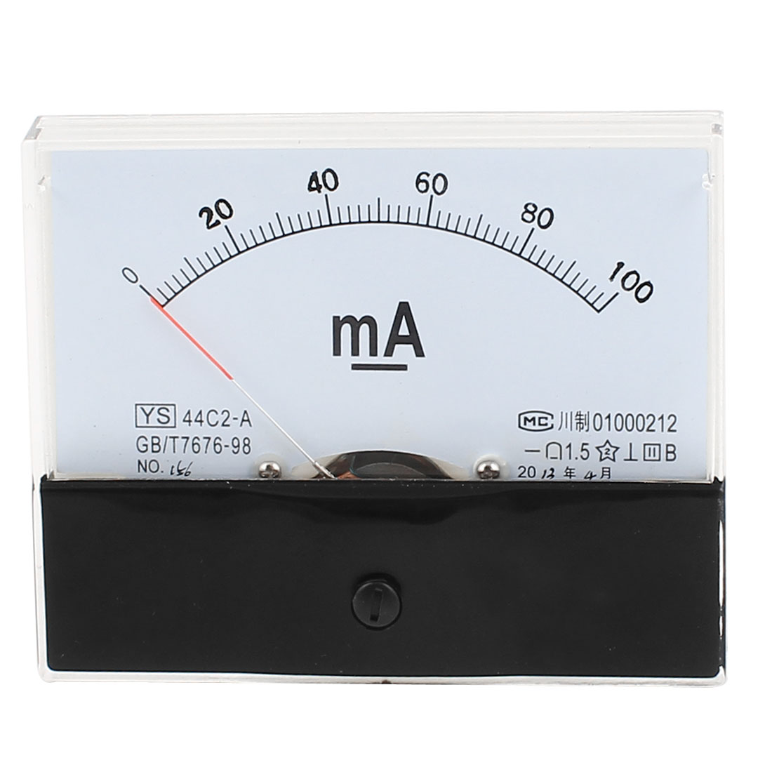 44C2-A 0-100mA Class 1.5 Accuracy Square Shaped Vertical Mounted Analog Ammeter Ampere Meter w Screws