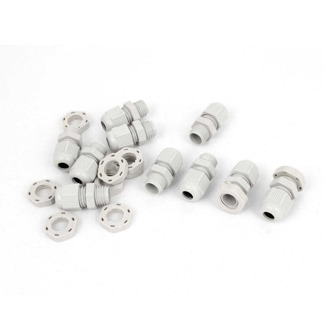 10 Pcs M12 White Plastic 3-6.5mm Dia Waterproof Cable Glands Connectors