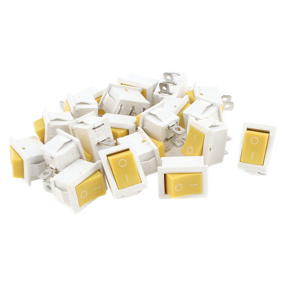 20 Pcs AC 250V/125V 10A/6A ON/OFF 2 Position KCD1 Snap in White Yellow Button Boat Rocker Switch