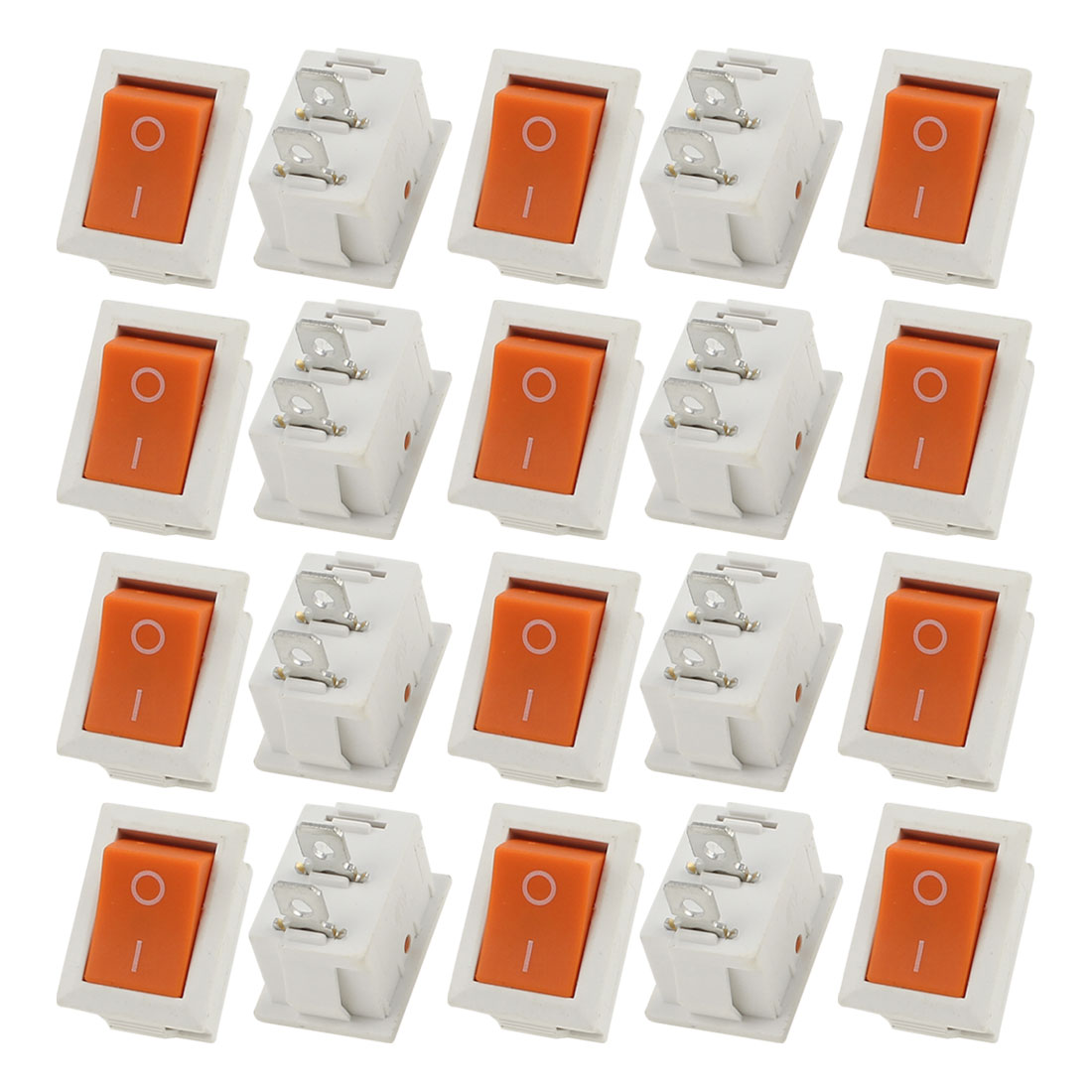 20 Pcs AC 250V/125V 10A/6A ON/OFF 2 Position KCD1 Snap in White Orange Button Boat Rocker Switch