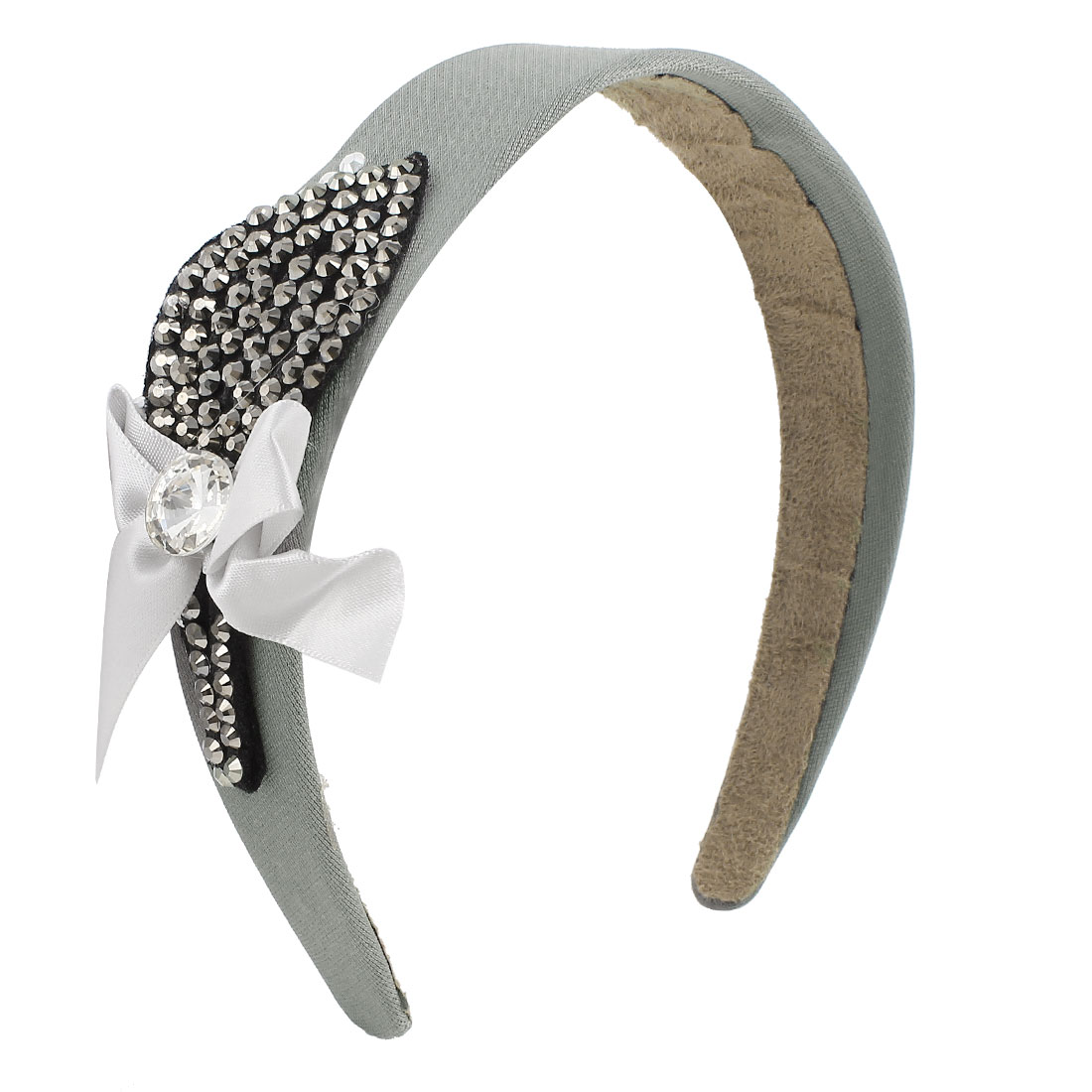 Rhinestone Inlaid Leaf Decor Hairband Headband Hair Hoop Gray for Women
