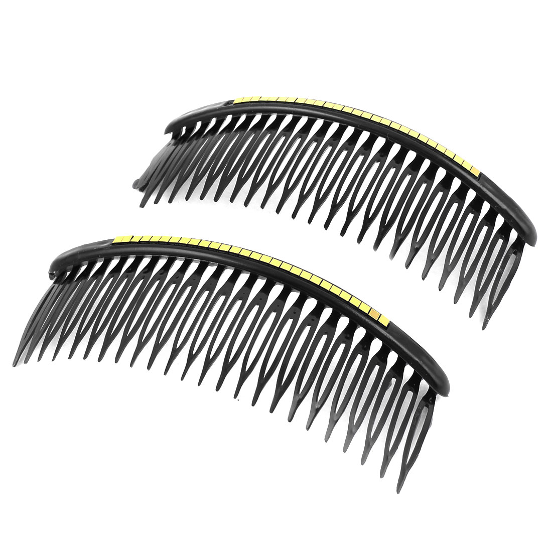 2 Pcs Black Glittery Gold Tone Square Sheet Decor Plastic Comb Hair Clip for Lady